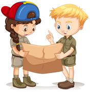Boy and girl reading map - stock illustration