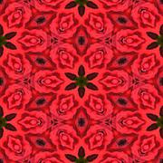 Red floral background, kaleidoscopically generated, seamless - stock illustration