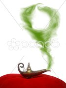 Smoking Genie Lamp - stock photo
