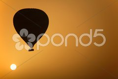 Hot Air Balloon At Sunrise Stock Photos