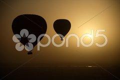 Hot Air Balloons At Eye Level - stock photo