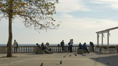 Stock Video Footage of People relaxing close to the Adriatic Sea in Dubrovnik, Croatia