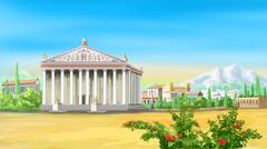 ancient Greek temple - stock illustration