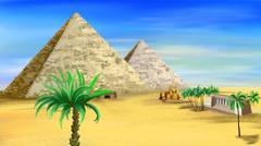 Egyptian pyramids - stock illustration