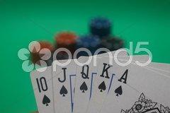 Poker hand - spades straight flush - stock photo