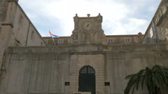 The entrance of Collegium Ragusinum in Dubrovnik, Croatia Stock Footage