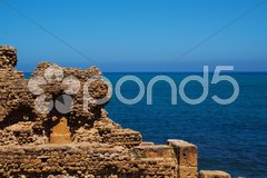 Ruin by the sea in Tipasa, Algeria - stock photo