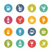 Drinks Icons -- Fresh Colors Series - stock illustration