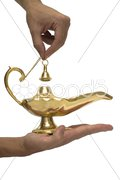 Gold Magic Lamp - stock photo