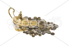 Gold Magic Lamp Stock Photos