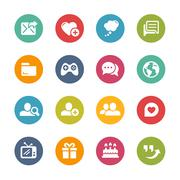 Social Communications Icons -- Fresh Colors Series Stock Illustration