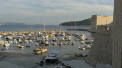 Beautiful view of the port and Saint Ivan fortress in Dubrovnik, Croatia Stock Footage