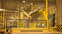 The robot arm will automatically work and move products to a industrial plant Stock Footage
