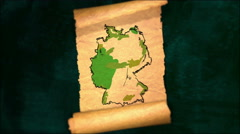 Germany Map Painting Unfolding Old Paper Scroll 3D 4K Stock Footage