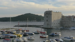 View of the port and saint Ivan Fortress in Dubrovnik, Croatia Stock Footage