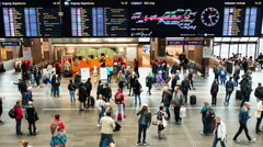 Time Lapse Zoom of Crowded Central Train Station Lobby -  Oslo Norway Stock Footage