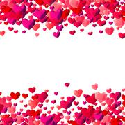 Valentines Day background with scattered triangle hearts Stock Illustration