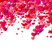 Valentines Day background with scattered triangle hearts - stock illustration