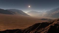 Sunset on Mars. Mars mountains, view from the valley Stock Footage