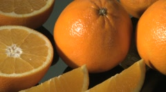 SLICED AND WHOLE ORANGES Stock Footage