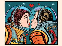 Kiss space man and woman astronauts Piirros
