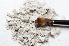 close up of makeup brush and eyeshadow - stock photo