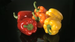 RED,ORANGE &YELLOW PEPPERS Stock Footage