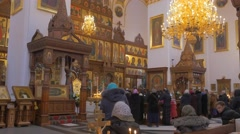 Uspensky Orthodox Cathedral From Inside With Icons, Iconostasis, Chandelier, Stock Footage