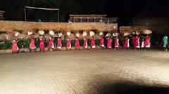 African tribe dancers, tribesmen tribeswomen dance sing songs drum jump clap - stock footage