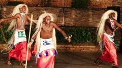 African tribe warrior dancers, tribesmen dance sing songs drum jump clap - stock footage