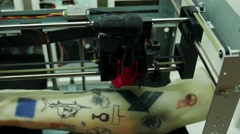 Electronic tattoo 3D printer, 3D printing Stock Footage