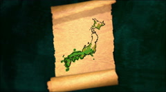 Japan Map Painting Unfolding Old Paper Scroll 3D 4K Stock Footage