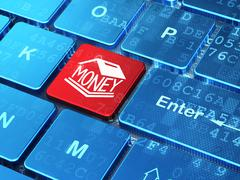 Stock Illustration of Banking concept: Money Box on computer keyboard background