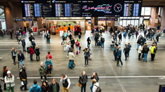 Time Lapse of Crowded Central Train Station Lobby -  Oslo Norway Stock Footage