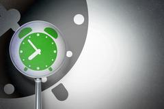 Timeline concept:  Alarm Clock with optical glass on digital background - stock illustration