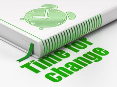 Stock Illustration of Timeline concept: book Alarm Clock, Time for Change on white background