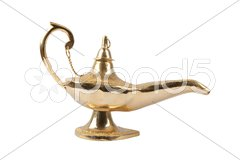 Golden Magic Lamp Stock Photos