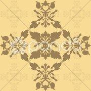Brown damask wallpaper - stock photo