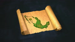 Mexico Map Painting Unfolding Old Paper Scroll 3D 4K - stock footage