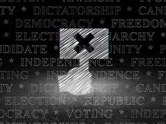 Stock Illustration of Politics concept: Protest in grunge dark room