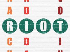 Stock Illustration of Politics concept: Riot in Crossword Puzzle