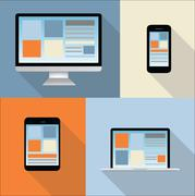 Computer, tablet, mobile phone, laptop illustration - collection - colorful b Stock Illustration