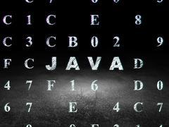 Software concept: Java in grunge dark room - stock illustration
