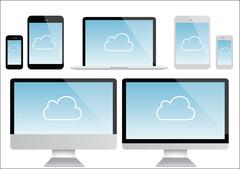 Cloud computing - laptop, tablet and smartphone vector - stock illustration