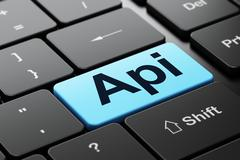 Stock Illustration of Programming concept: Api on computer keyboard background