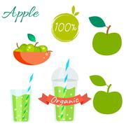 Stock Illustration of Green apple fruit and juice vector set
