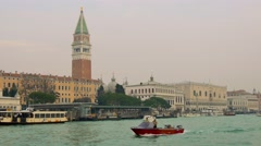 Shot of Piazza San Marco and the Doge's palace by the sea 4k Stock Footage