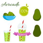 Avocado fruit and juice vector set - stock illustration