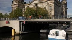 Tilt from River Spree  to Berlin Cathedral. Stock Footage