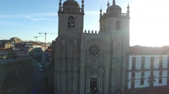 Aerial view of the Porto Cathedral or Se Catedral, Portugal - stock footage